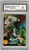1998 SkyBox Thunder Football Card #242 Randy Moss Vikings Rookie GMA Graded 9