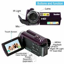 Besteker Portable FHD1080p Video Camera Camcorder 16XZoom Infrared Touch Screen