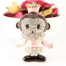 Year of the Monkey Crown Pink Keychain Crystal Charm Cute Animal Fun Gift 01323