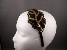 "Black Gold sequin leaf satin thin skinny headband 3/8"" wide fascinator applique"