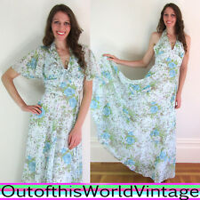 Vtg 70s Green PRAIRIE HALTER DRESS floral maxi gunne sax style HIPPIE FESTIVAL M