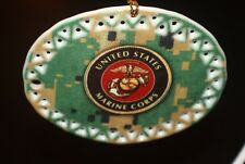 Military US Marine Corps Collectable Ceramic Christmas Ornaments gift box USA