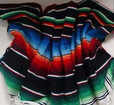 Mexican Serape Blanket Black Multi Color Rainbow Southwest White Fringe XL