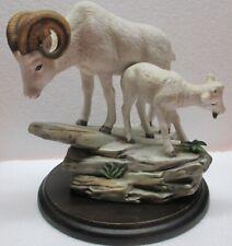 Vintage Homco Masterpiece Porcelain Rams Figurine Signed by Mizuno Artist