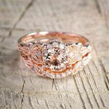 2Pcs/Set 18K Rose Gold Filled Ring White Topaz Wedding Engagement Size 6-10 new