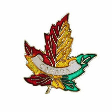 3 COLORED MAPLE LEAF WITH WORD METAL PIN BADGE ..NEW