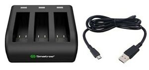 Smatree 3-Channel Battery Charger Rapid Charging USB Lead And Li-ion Battery