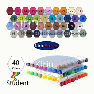 40 Colors Art Marker Pens Sketch Twin Broad Fine Point Highlighters with Case