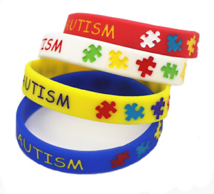 4 Unisex Autism Awareness Puzzle Silicone Rubber Bracelet Gift Wristband Cuff