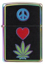 Zippo Windproof Lighter With Peace Sign, Heart and Marijuana Leaf, New In Box