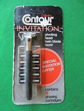 Vintage NOS 1970s Gillette Contour Invitation Twin Blade Razor & 5 Cartridges