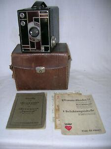 1930 Boxkamera Kodak Beau Brownie Nr.2 mit Etui + Bedienungsanleitung