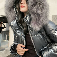 Women Down Coat Puffer Jacket Hooded Faux Fur Collar Ski Warm Shiny Metallic
