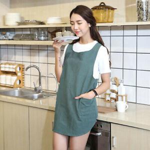 Women Cotton Linen Cross Back Apron Japanese Housework Kitchen Wrap Pinafore