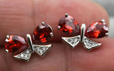 18K White Gold Filled- Waterdrop Butterfly Ruby Topaz Zircon Party Stud Earrings