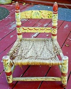 Antique Hand Painted Primitive CHILDS Chair