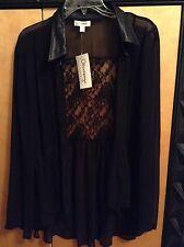 olsenboye black lace blouse size XL