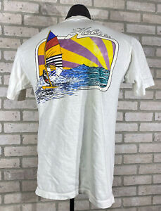 Vintage 80s Hobie Heavy T-Shirt Windsurfing Beach 1987 Size Large White