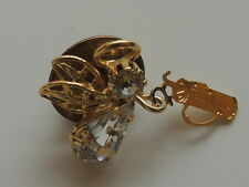 Golf Clubs Lapel Scarf Pin Estate Gold Plated Rhinestone Angel with
