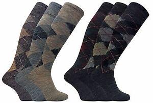3 Pack Mens Thin Warm Extra Long Knee High Argyle Pattern Lambs Wool Dress Socks