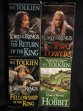 Lot of 4 JRR Tolkien PB Lord Rings Hobbit Fellowship Ring Two Towers Return King