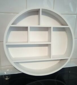 Wooden Round Shelf White Wooden Display Multiple Compartment Floating Shelf