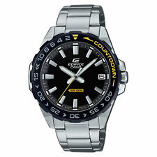 Casio Edifice Quartz Silver Steel Black Dial Countdown Bezel Mens Watch