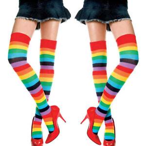 Womens OVER KNEE SOCKS Rainbow Striped High Thigh Long Striped Stocking