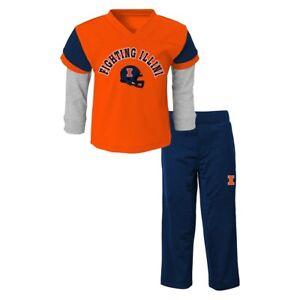 Illinois Fighting Illini NCAA Orange Long Sleeve T-Shirt & Pants Set Boys (4-7)