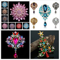 Large Flower Bridal Rhinestone Crystal Diamante PARTY Wedding Broach Pin Gift #