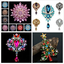Large Flower Rhinestone Crystal Diamante Gold Brooch Party Wedding Bridal Pin