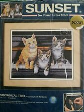 No Count Cross Stitch Kit 3 Cats Kittens on Piano Meowsical Trio Sunset 14 x 11
