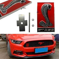 Ford Mustang Cobra Snake GT350 GRILL BADGE Shelby Metal Front Emblem Chrome RED