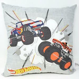 "Pottery Barn Kids Hot Wheels Truck Gray Decorative 18"" Pillow New"