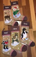 """Personalized Christmas Plush Stocking with Custom Embroidered Name 18 1/2"""" Long"""