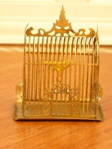 Lovely Golden Ormolu Birdcage with Yellow Canary - Artisan Dollhouse Miniature