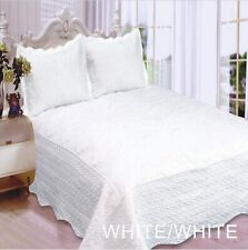 FLOWERS EMBROIDERED WHITE COLOR BEDSPREAD COVERLET SET 3 PCS KING SIZE