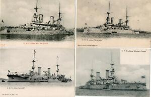 GERMAN WAR SHIPS c1904 - 4 OLD POSTCARDS