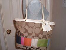 Coach Signature Stripe Shopper Tote Purse Multicolor Canvas Handbag 10859