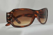 Women's Fashion Tortoise Frames with Rhinestones Dark Brown Tint Lens New Large