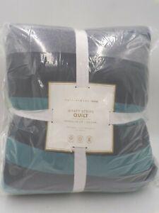 Pottery Barn Teen Wyatt Striped Quilt Soft Cotton Queen Gray Multi #9999T