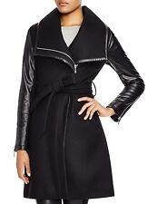 Dawn Levy 2 Black Wool Winnie Belted Wrap Coat L New $575
