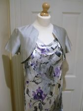 10/12 Jacques Vert Bias Silk Dress BNWT Debenhams Bolero Jacket Silver Purple