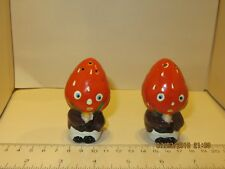 Vintage Anthropomorphic Strawberry Head Salt and Pepper Shakers