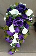 Cascading White Calla Lily Purple Roses Wedding Bouquet Bridal Silk Flowers 2pc