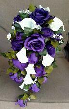 Cascading White Calla Lily Purple Roses Wedding Bouquet Bridal Silk Flowers 2pc
