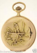 IWC  PRUNKRELIEF TASCHENUHR IN 18ct GOLD - FRANZ & JULES HOLY FRS - um 1910