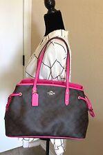 NWT Coach Signature Drawstring Carryall Handbag Khaki Pink Satchel