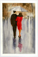 """Original Watercolor Painting 9 x 6"""" In the Rain Abstract Not ACEO"""