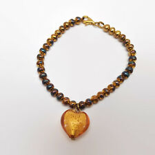 Orange Lampwork Glass Heart Bead Bracelet With Vermeil Sterling Silver Clasp